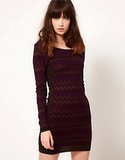 Free People Fair Isle Knitted Dress in Metallic Yarn