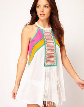 Image 1 ofRiver Island Embroidered And Fringed Front Dress