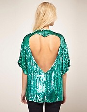 ASOS Sequin Tunic With Heart Cutout Back
