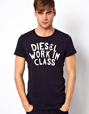 Image 1 ofDiesel T-Shirt T-Sandy Work In Class Logo