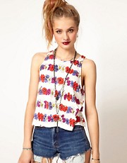 Minkpink Flower Child Vest Top in Floral Stripe