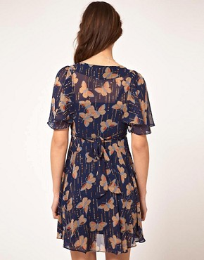 Image 2 of A Wear Cape Sleeve Dress With Butterfly Print