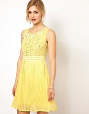 Frock and Frill Dress with Sequin Embellished Bodice and Pleated Skirt