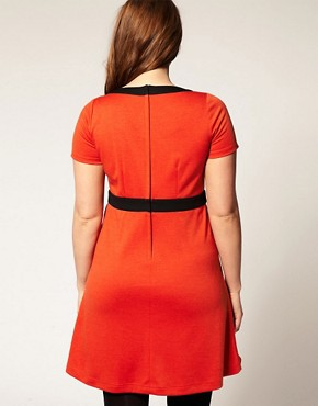 Image 2 ofASOS CURVE Bow Dress with Empire Line