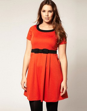 Image 4 ofASOS CURVE Bow Dress with Empire Line