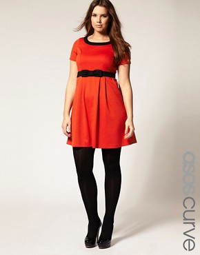 Image 1 ofASOS CURVE Bow Dress with Empire Line