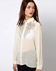 Warehouse Shirt With Contrast Cutwork