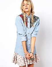ASOS RECLAIMED VINTAGE Denim Shirt with Paisley Yokes