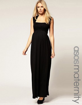 Image 1 ofASOS MATERNITY Exclusive Jersey Wrap Bust Maxi Dress