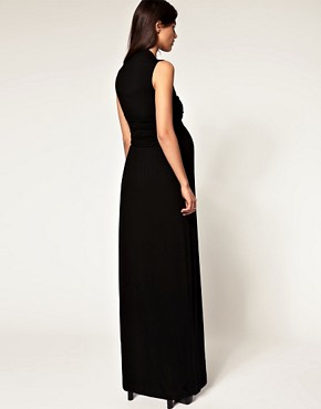 Image 2 ofASOS MATERNITY Exclusive Jersey Wrap Bust Maxi Dress