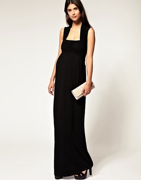 Image 4 ofASOS MATERNITY Exclusive Jersey Wrap Bust Maxi Dress