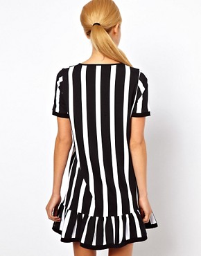 Image 2 ofASOS Shift Dress With Ruffle Hem In Vertical Stripe Print