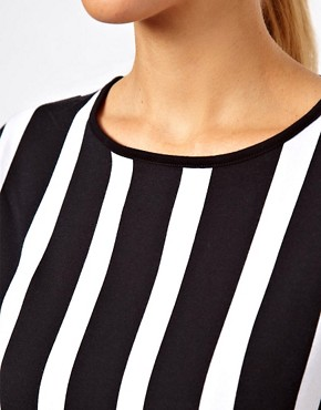 Image 3 ofASOS Shift Dress With Ruffle Hem In Vertical Stripe Print