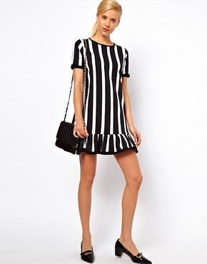 Image 4 ofASOS Shift Dress With Ruffle Hem In Vertical Stripe Print