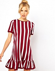 ASOS Shift Dress With Ruffle Hem In Vertical Stripe Print