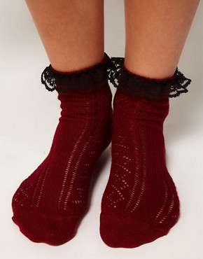 Image 2 ofASOS Crochet Lace Frill Ankle Socks