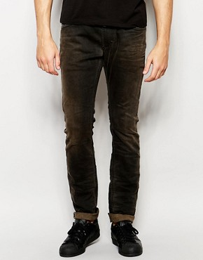 Pantalones de chándal tipo vaqueros de corte slim en negro desgastado Thavar 848G de Diesel