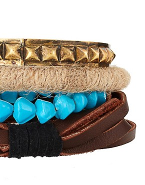 Image 3 ofASOS Chunky Leather and Metal Bangle Bracelet Pack