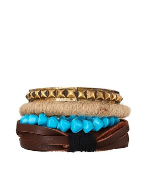 Image 1 ofASOS Chunky Leather and Metal Bangle Bracelet Pack