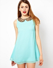 Jarlo Shift Dress With Embellished Collar