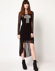 Thirty Four Disciples Stud Cross Mesh Dress