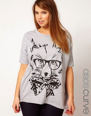 Image 1 ofASOS CURVE Exclusive T-Shirt With Posh Fox