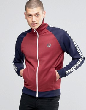 Fred Perry Track Jacket With Contrast Taped Sleeves In Maroon