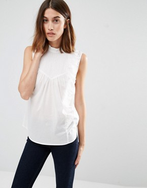 Warehouse Sleeveless Asymmetric Ruffle Shirt