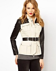 Karen Millen Jacket with Leather Look Sleeves and Belt