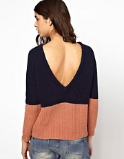 BA&SH Low Back Sweater in Chunky Knitted Cotton