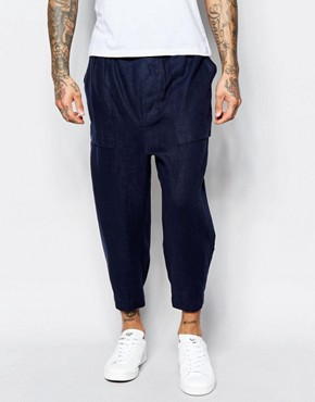 ASOS Drop Crotch Joggers In Cropped Length In Navy Textured Fabric