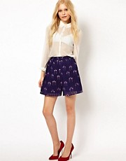 Sugarhill Boutique Pleated Shorts in Flamingo Print