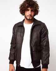 ASOS Leather Bomber Jacket