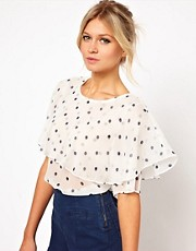 ASOS Blouse With Oversized Ruffle In Spot Print