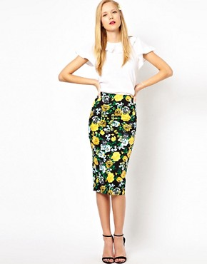 Image 1 ofASOS Pencil Skirt in Floral Print