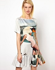 Louise Amstrup Swan Strut Dress with Placement Print