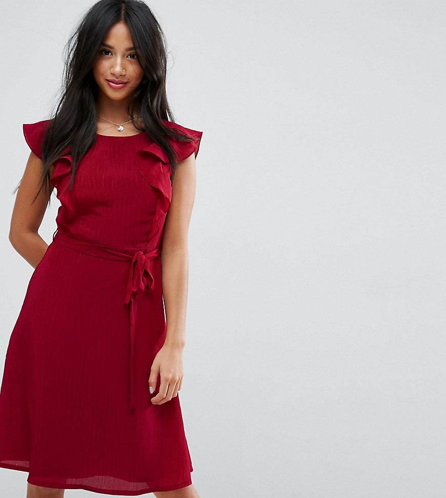 Yumi Petite Midi Tea Dress With Frill Sleeve
