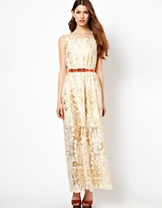 Pearl Printed Lace Hi Lo Dress