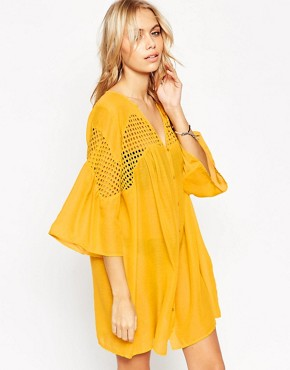 ASOS V Neck Corded Lace Button Front Smock Beach Dress