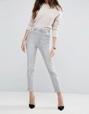 ASOS Farleigh High Waist Slim Mom Jeans in Smokey Falls Grey Wash