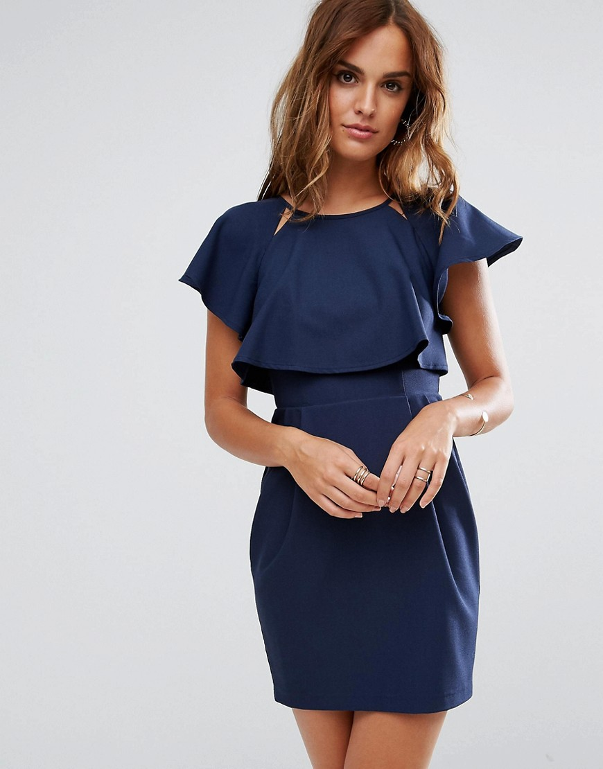 ASOS Double Layer Mini Wiggle Dress with Angel Sleeve - Navy