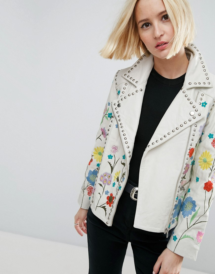 ASOS Floral Embroidered Leather Biker Jacket - White