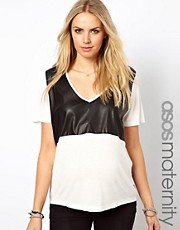 ASOS Maternity T-Shirt With Leather Look Panel