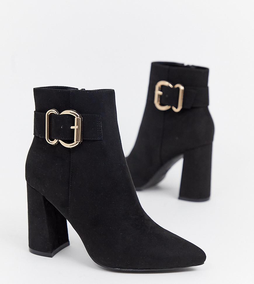 New Look - Bottines à talons avec boucle - Noir - Noir