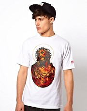 SSUR T-Shirt With Fire Jesus Print