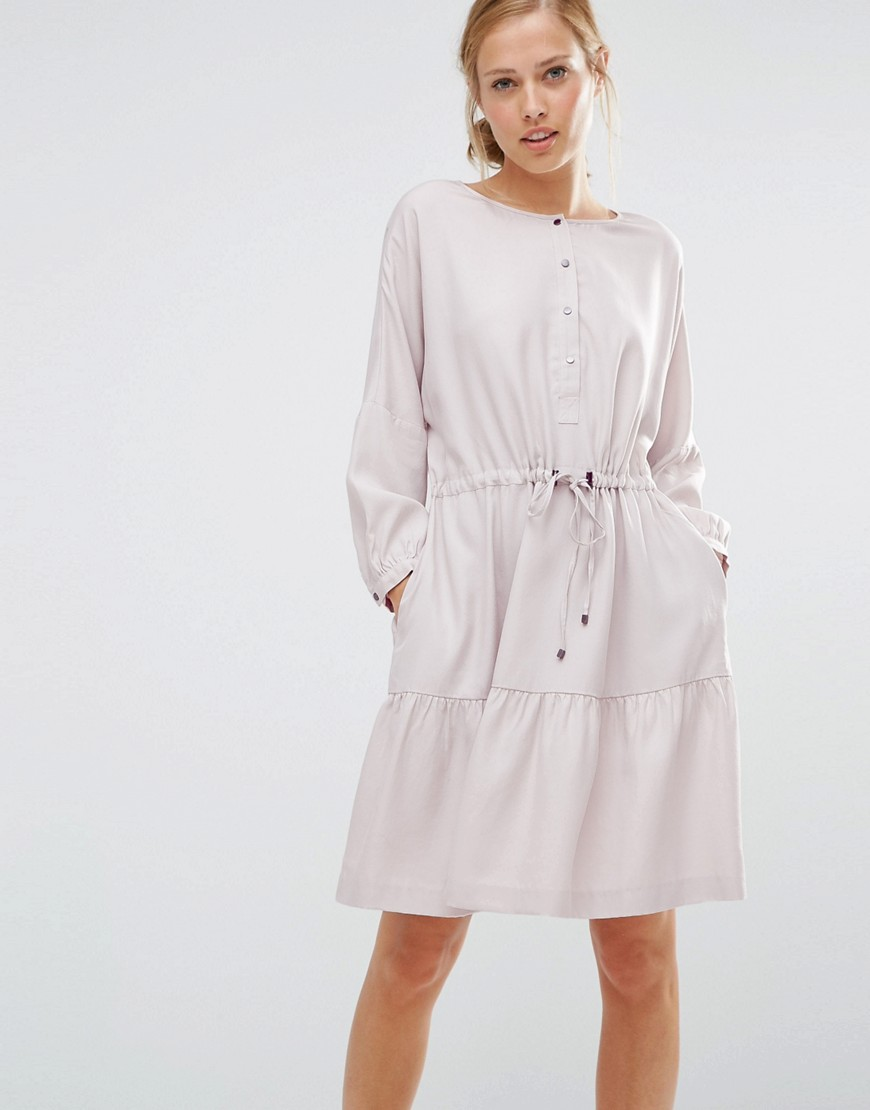 Warehouse Oversized Tiered Smock Dress - Gray