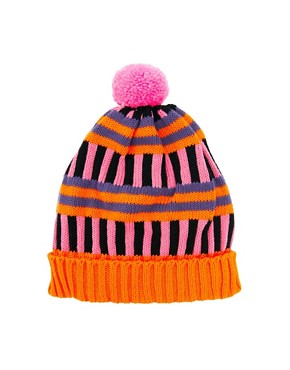 Image 2 of All Knitwear Orange Stripe Bobble Hat