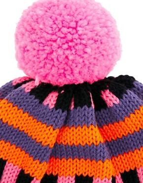 Image 3 of All Knitwear Orange Stripe Bobble Hat
