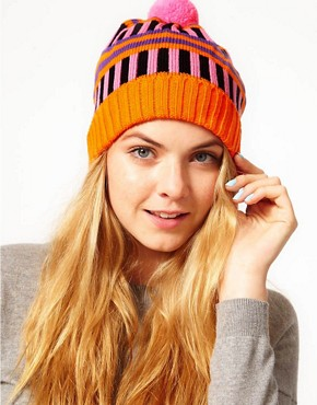Image 1 of All Knitwear Orange Stripe Bobble Hat
