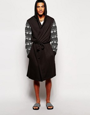 ASOS Christmas Dressing Gown With Fairisle Printed Sleeves